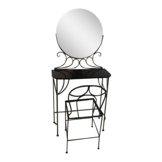 BEAUTIFUL ART DECO WROUGHT IRON VANITY AND CHAIR BY FERRO BRANDT For Sale