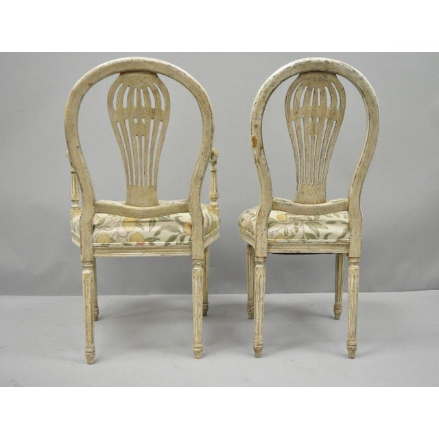 Wood 20th Century Louis XVI French Style Hot Air Balloon Back Dining Chairs - Set of 6 For Sale - Image 7 of 13