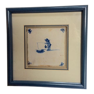 18th Century Delft Tile Framed Fisherman