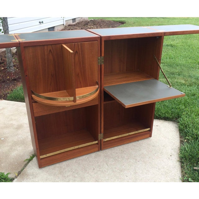 Danish Modern 1960s Vintage Danish Modern Teak Folding Bar Cabinet For Sale - Image 3 of 9