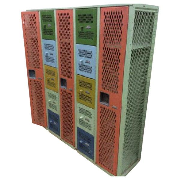 Vintage Mesh Steel Multicolor Lockers - Image 1 of 6