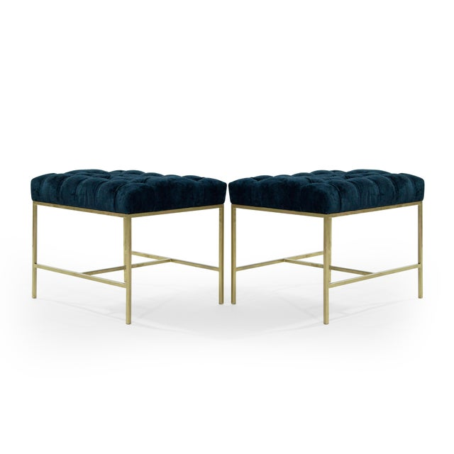Mid 20th Century 1950s Modern Tufted Brushed Brass Stools - a Pair For Sale - Image 5 of 12
