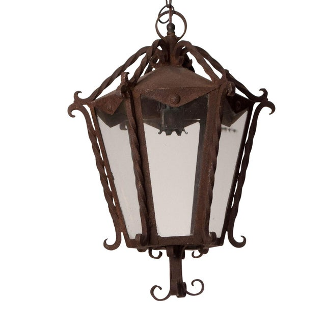 Italian Wrought Iron Lantern For Sale - Image 4 of 4