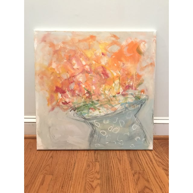 """Abstract Abstract Floral Painting, """"Orange Blooms"""" by Sarah Trundle For Sale - Image 3 of 3"""