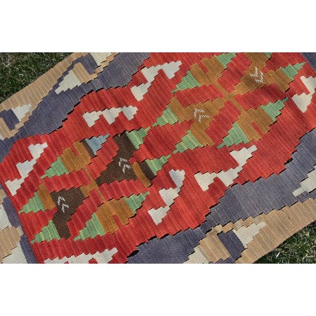 Turkish Traditional Handwoven Anatolian Nomadic Rustic Style Oushak Kilim Rug For Sale - Image 10 of 13