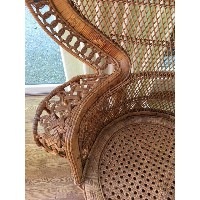 1970s Vintage Emmanuel Wicker Peacock Chair For Sale - Image 5 of 13