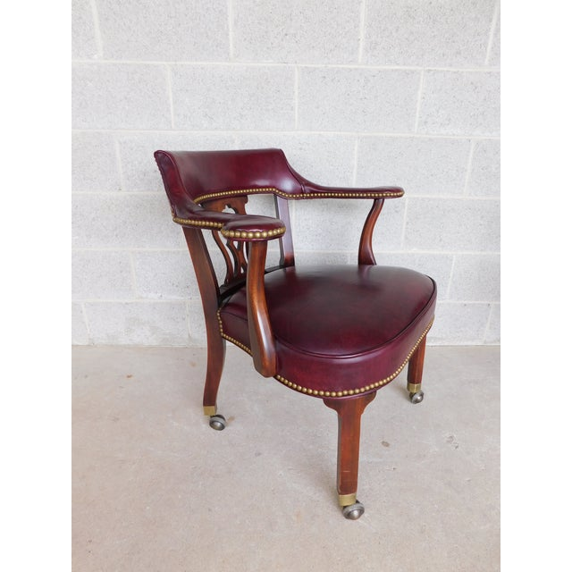 Features Quality Construction, Traditional Chippendale Styling, Quality Leather, Brass Button Tack Accented, Approx 30...