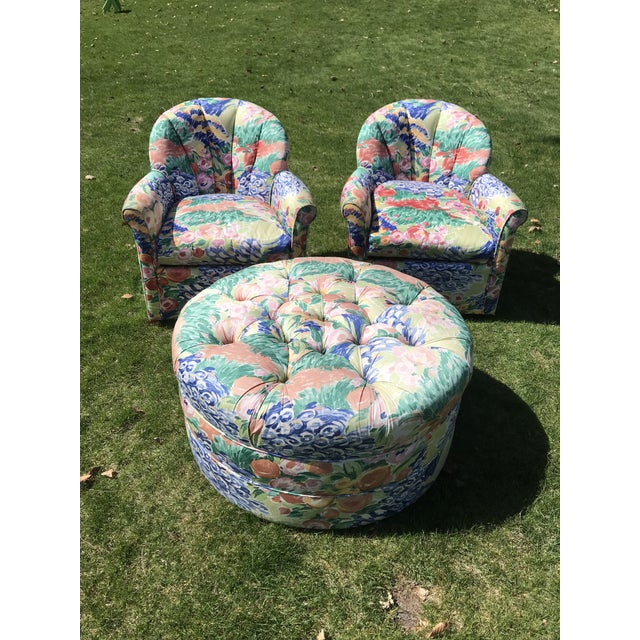 Textile 1990s Vintage Inspired Swivel Lounge Chairs & Ottoman For Sale - Image 7 of 7