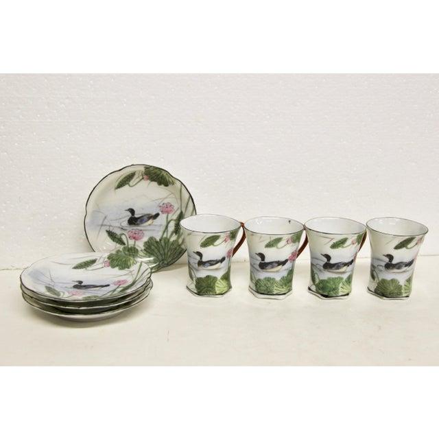 Asian Japanese Porcelain Chocolate Set, 10 Pcs For Sale - Image 3 of 6