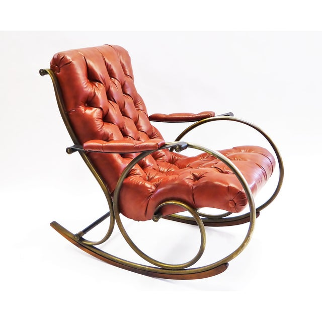 1970s Modern Woodard Sculptural Tufted Leatherette Rocking Chair For Sale - Image 11 of 12