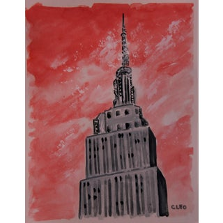 Impressionist Empire State Building New York City Painting by Cleo Plowden For Sale