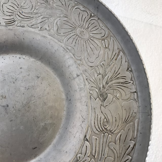 Vintage Handmade Etched Metal Tray For Sale - Image 10 of 11