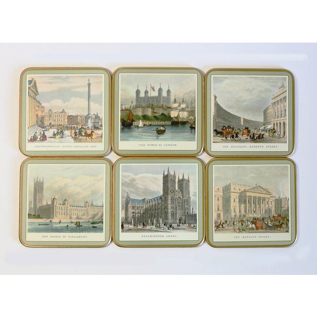 Mid Century Coasters still in the original packaging, never used. The set of 6 is of 19th Century London. Made in England...