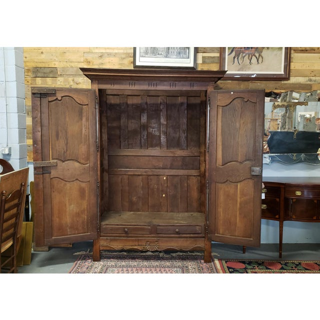 Antique 18th Century French Normandy Country Double Door Wedding Armoire Cabinet C1790 For Sale - Image 10 of 13
