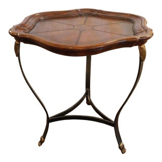 Maitland Smith Pie Shell Leather Top Metal Base Accent Side Table