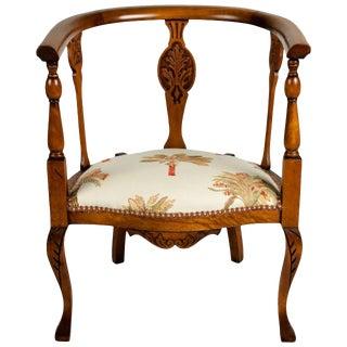 Antique Carved Barrel Armchair For Sale