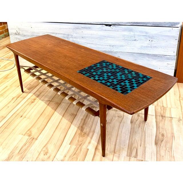 1960s Danish Modern Arne Hovmand-Olsen Teak Coffee Table With Tile Inlay For Sale - Image 13 of 13