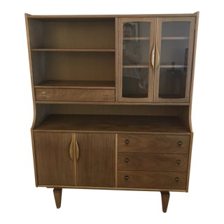 1960s Mid-Century Modern Walnut Stanley China Hutch For Sale