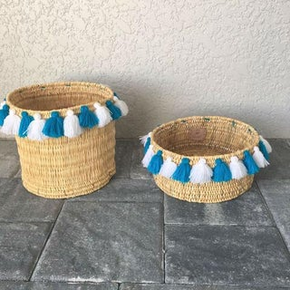 Moroccan White and Turquoise Tassel Small Basket Preview