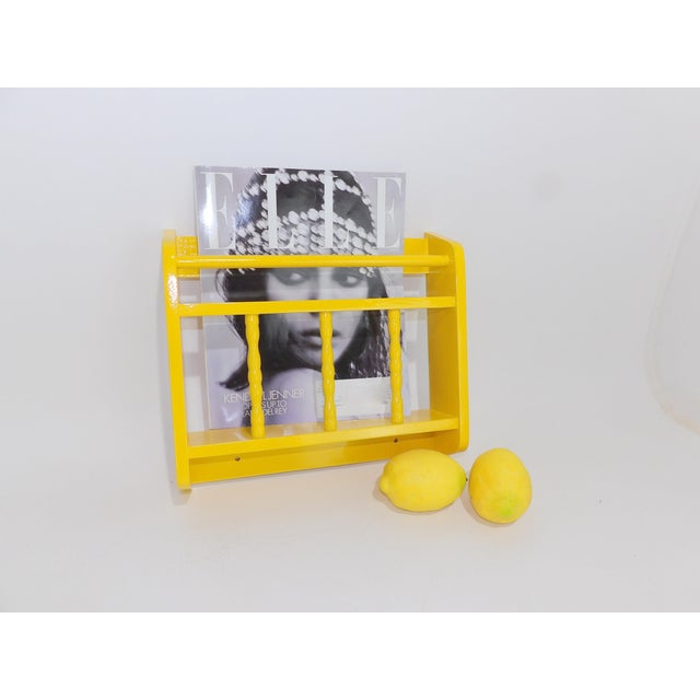 Late 20th Century Electric Yellow Magazine Rack For Sale - Image 5 of 6