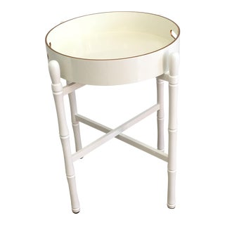 Round Tray Table in Off White For Sale