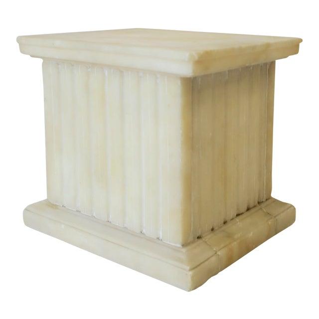 Italian Alabaster Marble Column Pedestal For Sale