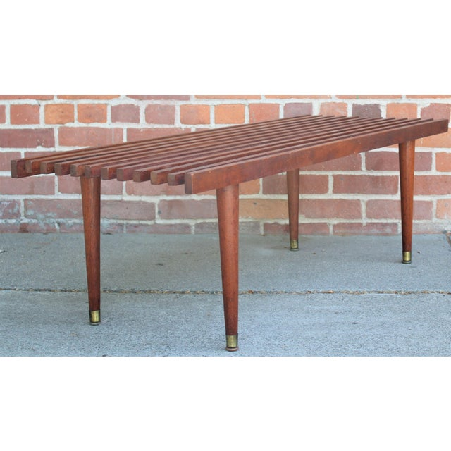Mid-Century Modern Walnut Slat Bench/Coffee Table For Sale - Image 11 of 11