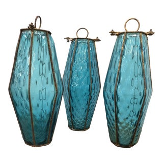 Vintage Murano Caged Glass Pendants - Set of 3 For Sale