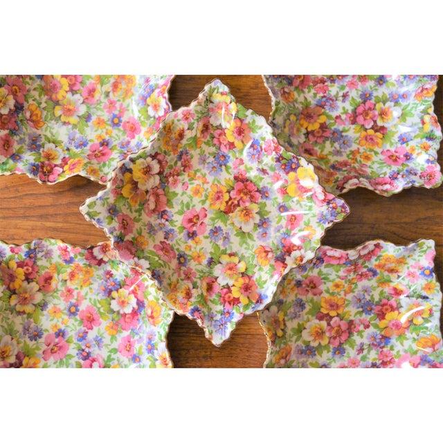 Vintage James Kent DuBarry Square Floral Chinitz Plates - Set of 5 For Sale - Image 10 of 11