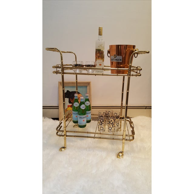 Brass Plated Mid Century Bamboo Bar Cart - Image 9 of 11