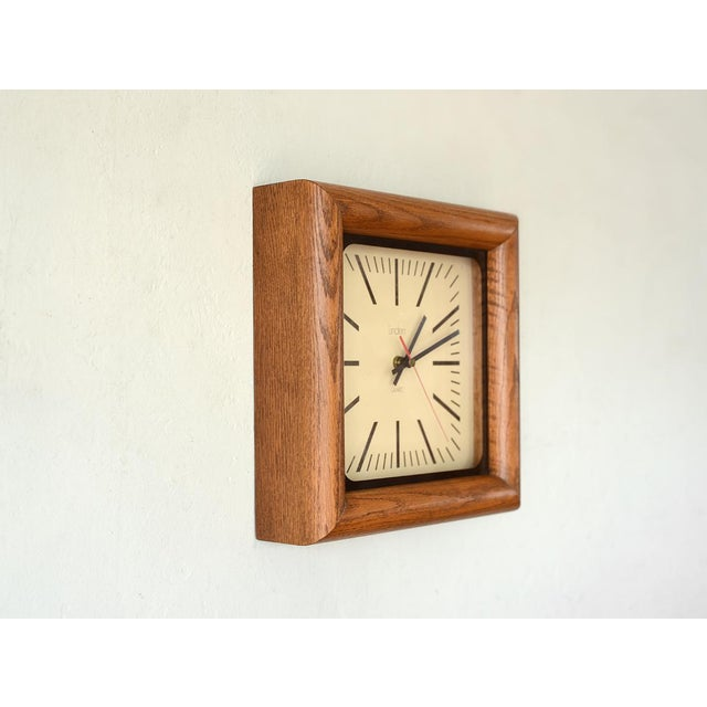 Danish Modern Danish Modern Arthur Umanoff Style Bullnose Oak Clock For Sale - Image 3 of 6