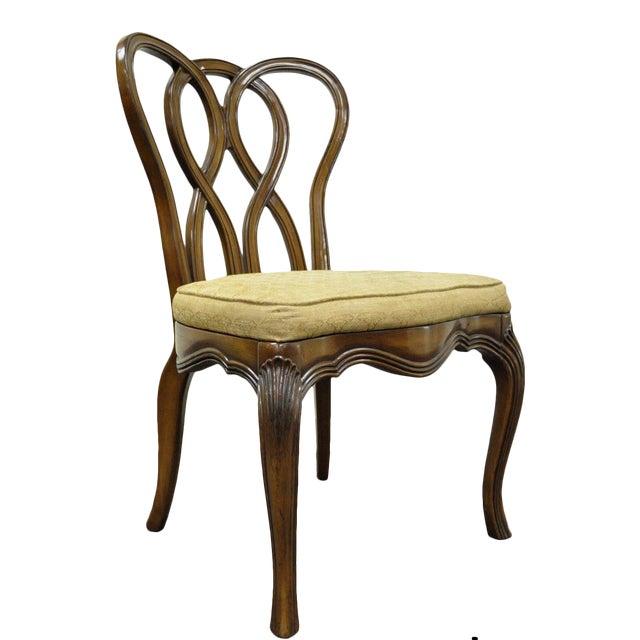 Vintage Hollywood Regency Solid Wood Loop Back Side Occasional Desk Dining Chair For Sale