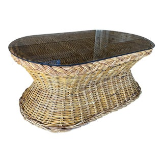 Vintage Large Braid Country Wicker Coffee Table For Sale