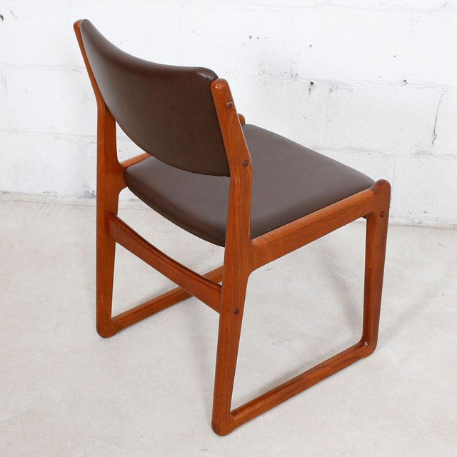 Set of 4 Danish Teak Sleigh Leg Chairs in Teak with New Upholstery For Sale - Image 4 of 6