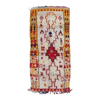 Azilal Vintage Moroccan Rug- 4′1″ × 8′8″ For Sale