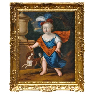 "Late 17th Century Baroque Court Portrait Painting Possibly of ""Louis, Dauphin"" For Sale"