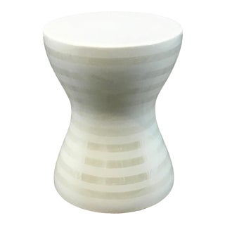 Made Goods Modern White Ceramic Hamlin Stool For Sale
