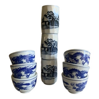 Vintage Blue & White Dragon Saki or Teacups, Set of 9 For Sale