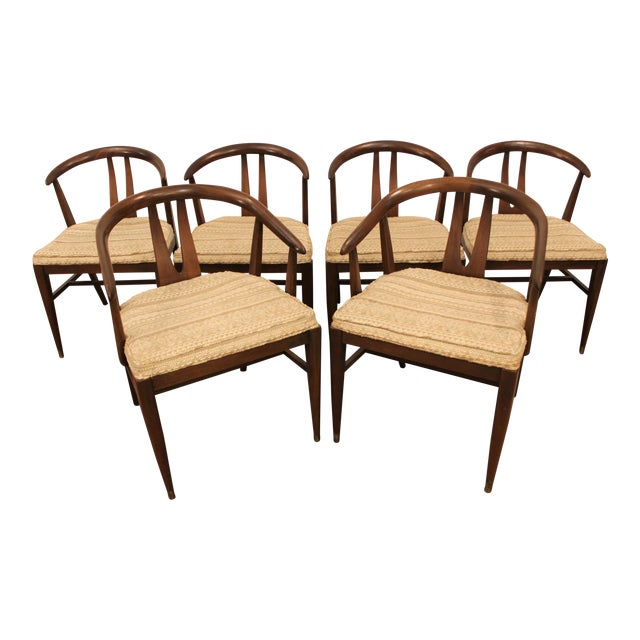 Curved-Back Walnut Dining Chairs - Set of 6 - Image 1 of 11