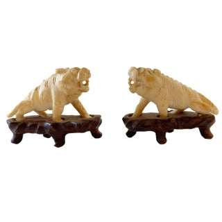 """19th Century Pair of Ivory Miniatures / Fortune Dogs on Stand 1.50"""" H For Sale"""