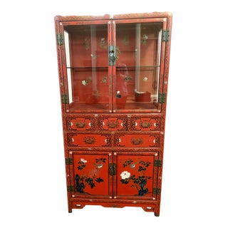Chinese Red Lacquer Curio Cabinet For Sale