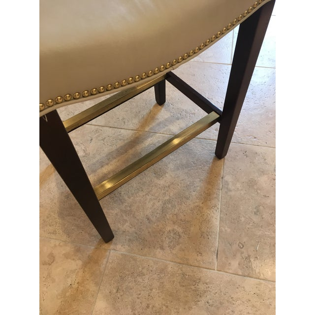 Hollywood Regency Hickory Chair Madigan Taupe Leather Backless Counter Stools - Set of 4 For Sale - Image 3 of 6