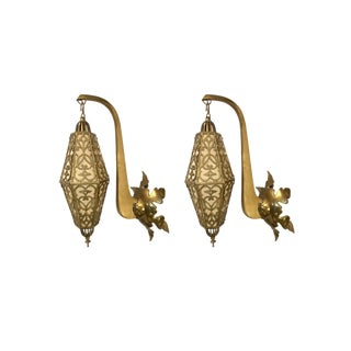 Moroccan Latticed Brass Hanging Lanterns Sconces - a Pair For Sale