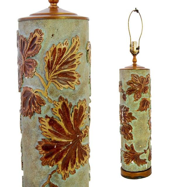 Large Vintage Wallpaper Roller Lamp - Image 2 of 3