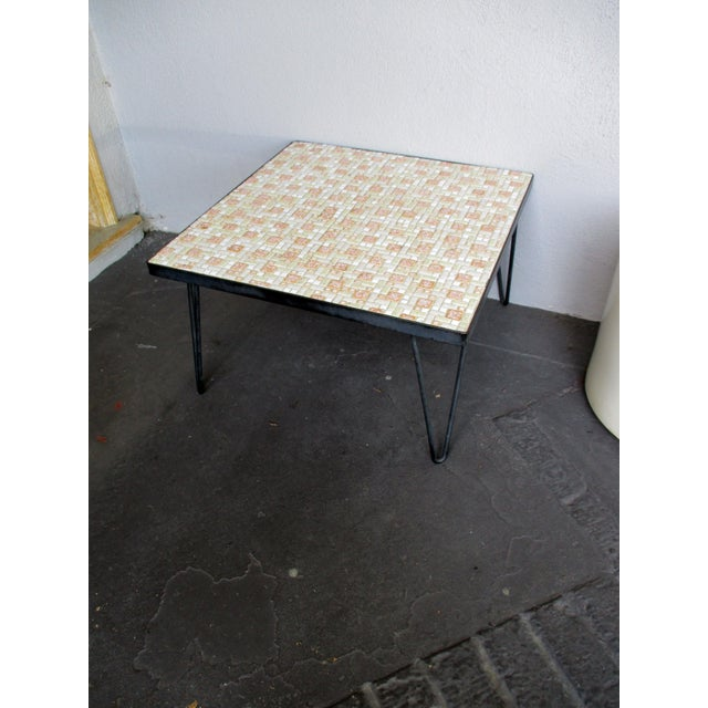 Mosaic Mid-Century Modern Orange and White Coffee Table Patio Furniture - Image 2 of 11