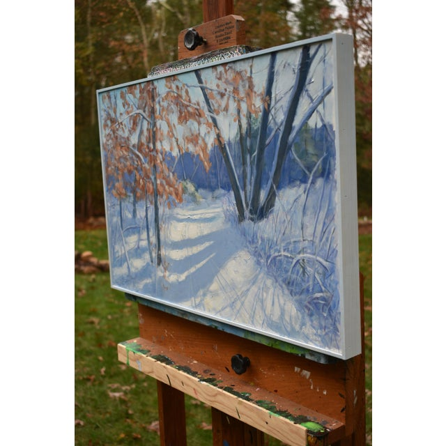"""Paint """"Snowy Path by the Beech Tree"""" Contemporary Acrylic Painting by Stephen Remick, Framed For Sale - Image 7 of 11"""