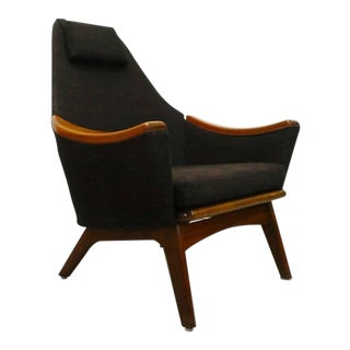Adrian Pearsall Craft Associates Mid-Century Modern Black Tweed Lounge Chair For Sale