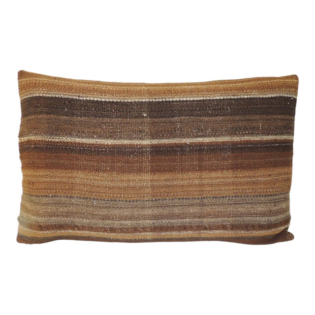 Brown Woven Turkish Stripe Decorative Bolster Pillow For Sale