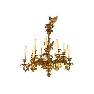 Belle Epoque French Late 19th Century Cast Bronze Chandelier For Sale