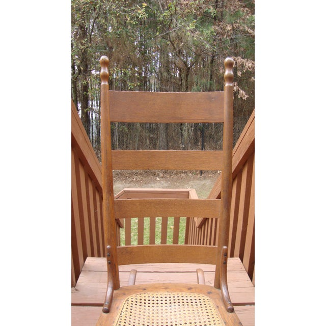 American Antique 18th C. Early American Ladderback Rocker Chair For Sale - Image 3 of 11